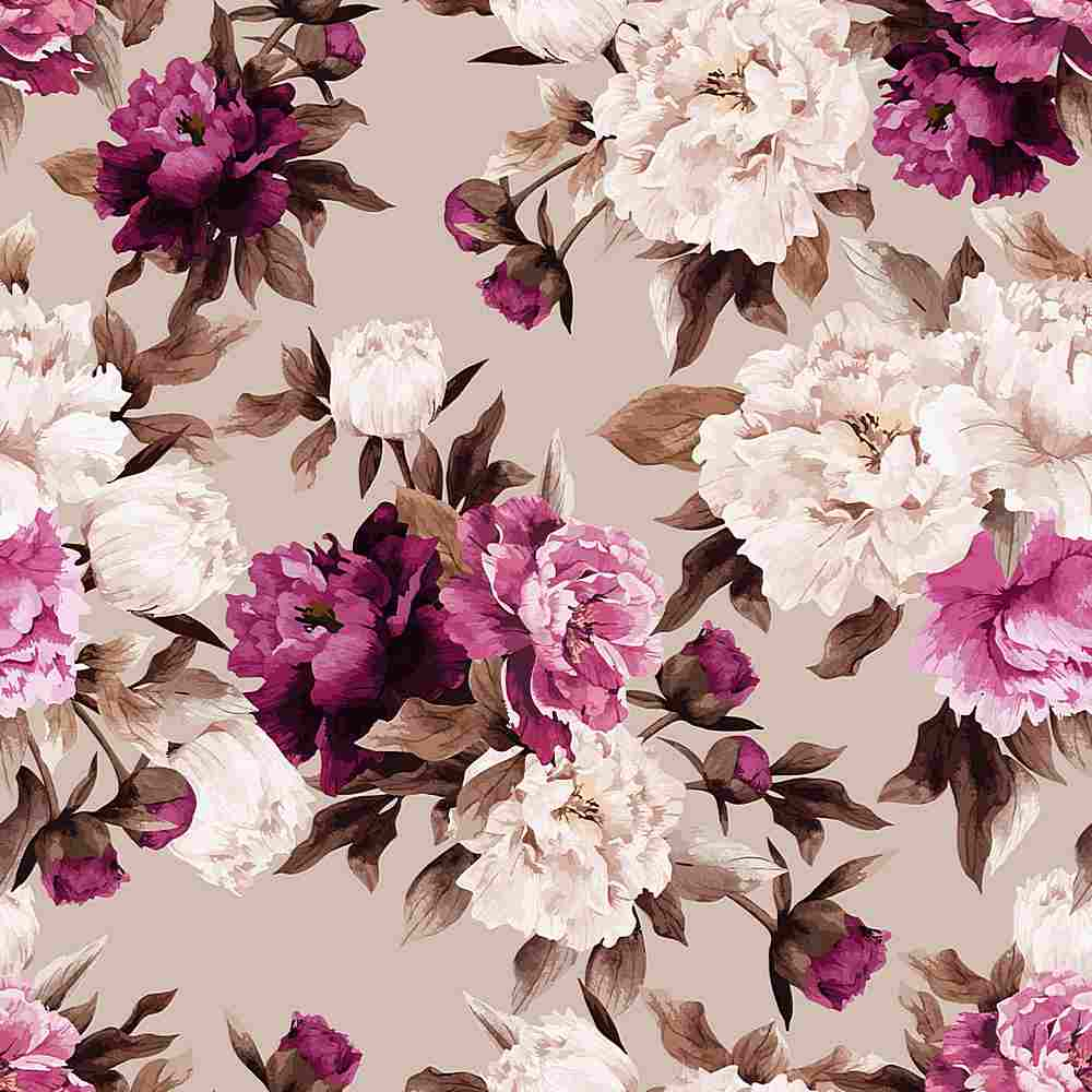 5423-2070 / MAUVE / Flower Print Dty Brush