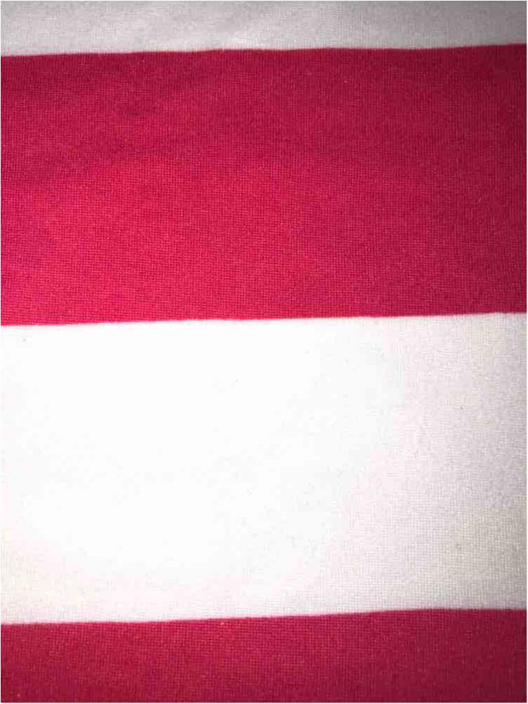 "5392-2070 / CORAL/IVORY / 1"" X 1"" BRUSHED DTY STRIPES PRINT 180GSM"