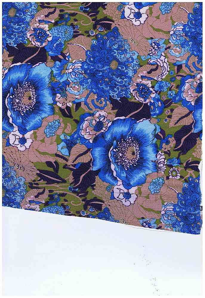5028-8063 / BLUE / BUBBLE CREPE 95%POLY 5%SPDX TROPICAL FLORALS
