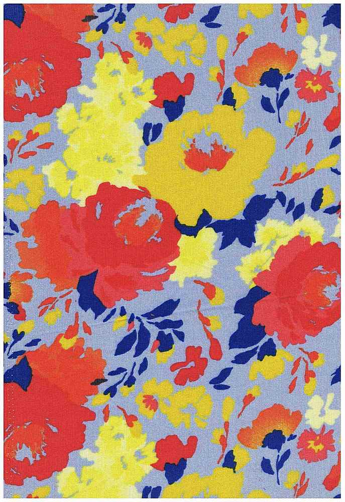 5031-2226 / BLUE / 100%RAYON CREPON PAINTED FLORALS