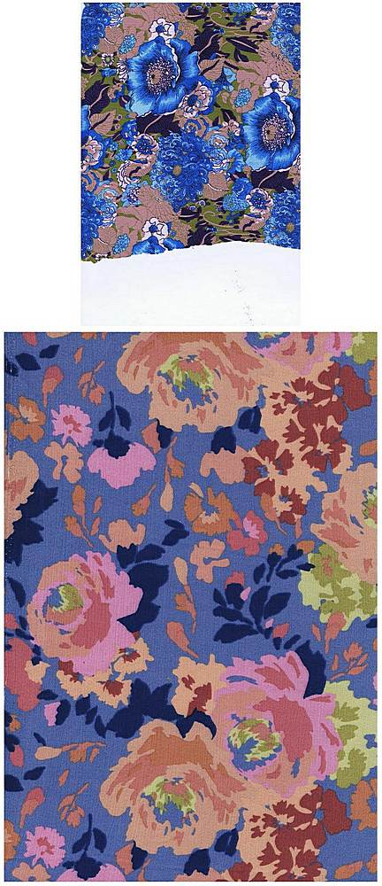5031-2226 / DENIN BLUE / 100%RAYON CREPON PAINTED FLORALS