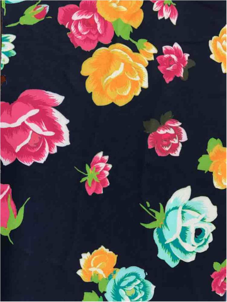 5188-TRICOT / PINK/NAVY / 4way Stretch Tricot Microfiber Floral Nvy Bckground