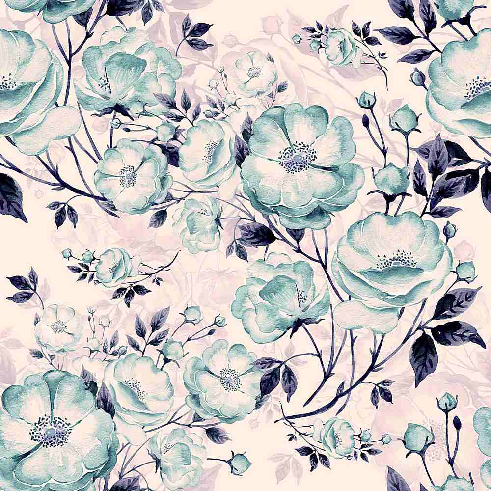 5226-8000-113 / PURPLE/SEAFOAM / Flower Printed Ponti Roma
