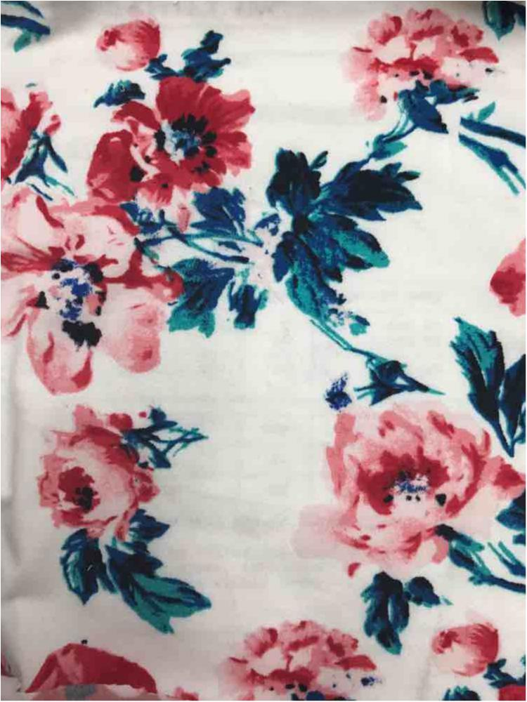 5241-2070 / IVORY/RED / Floral Printed Dty Brush