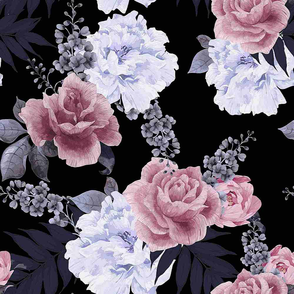5249-2070 / BLACK/PINK / Flower Printed Brushed Dty