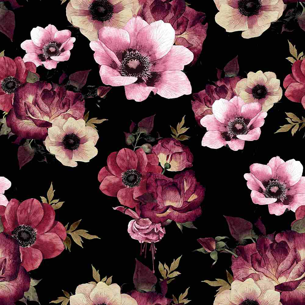 5262-2070 / WINE/BLACK / Flower Printed Dty