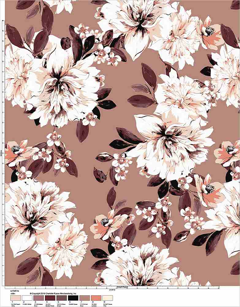 5283-8051 / TAN/BROWN / Flower Printed Hmc 100% POLY