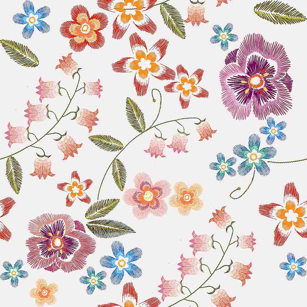 5285-8011 / IVORY / Embroidery Look Printed Flower Poly Powermesh