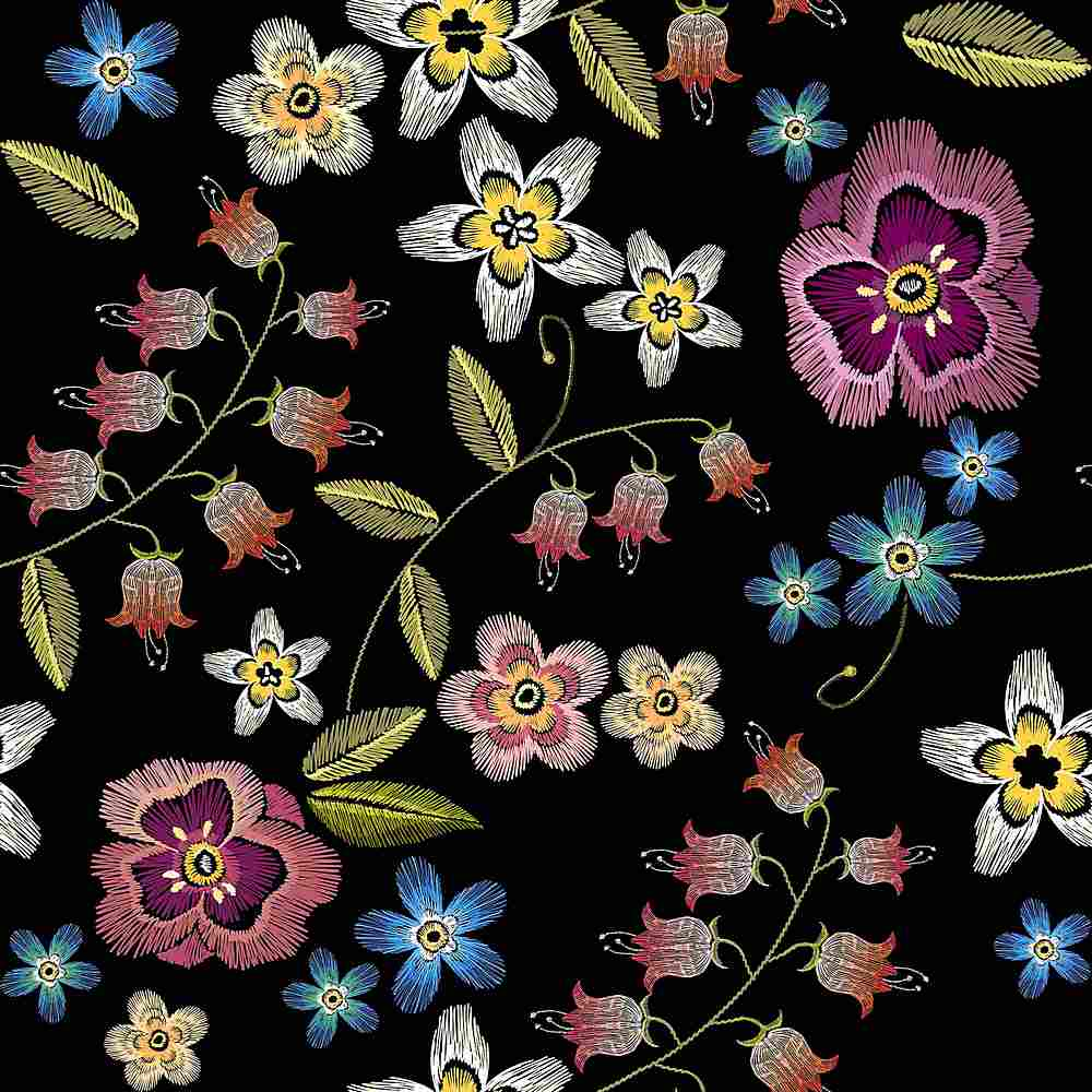 5285-8011 / BLACK / Embroidery Look Printed Flower Poly Powermesh