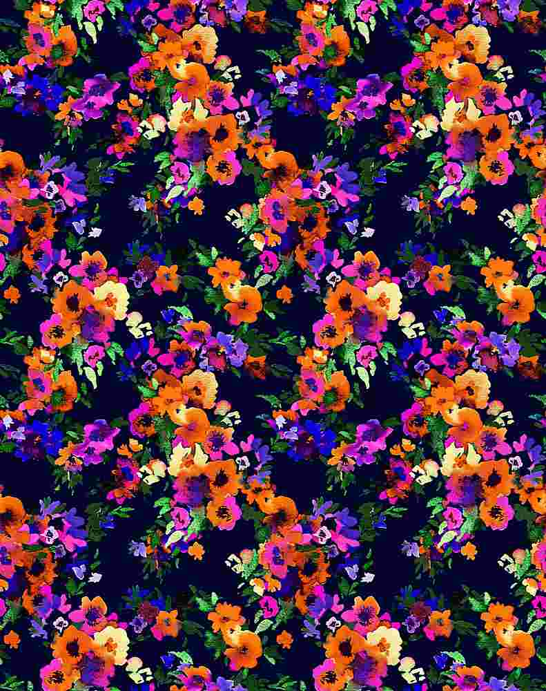 5332 / NAVY/ORANGE / Small Busy Flower