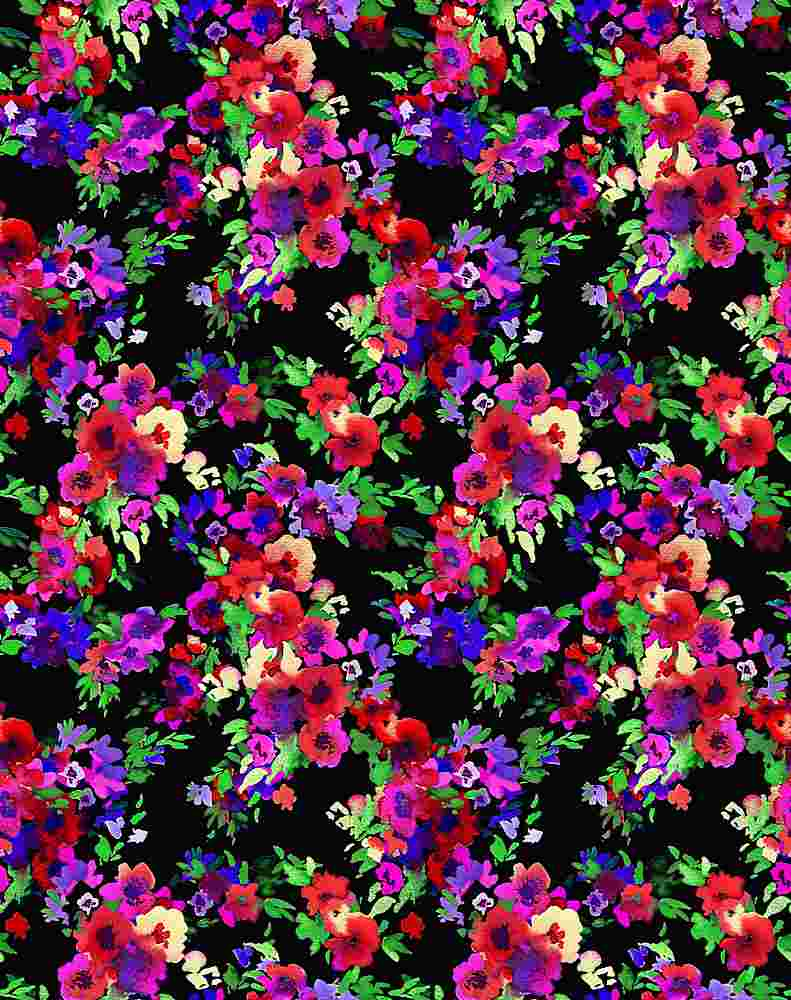 5332 / BLACK/RED / Small Busy Flower