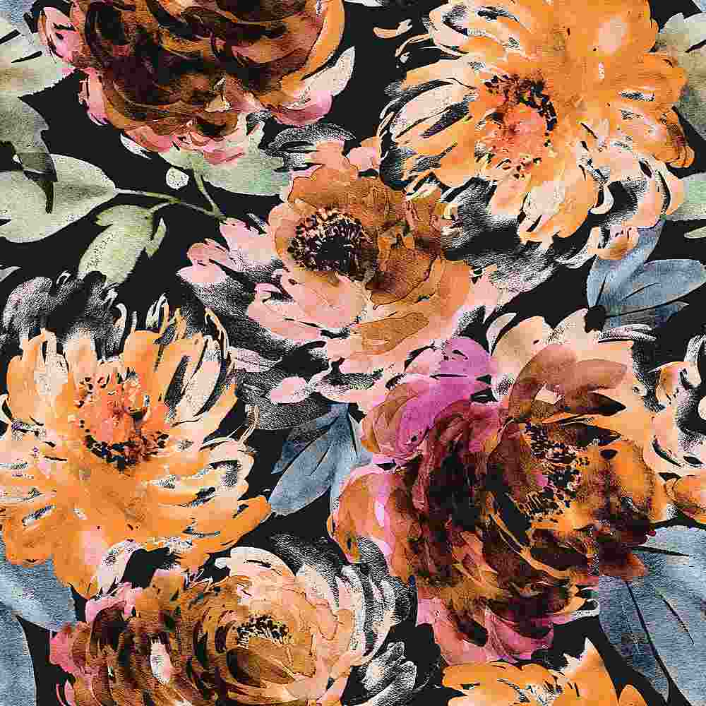 5345-TECHNO / BLACK/ORANGE / WATER COLOR FLOWER TECHNO
