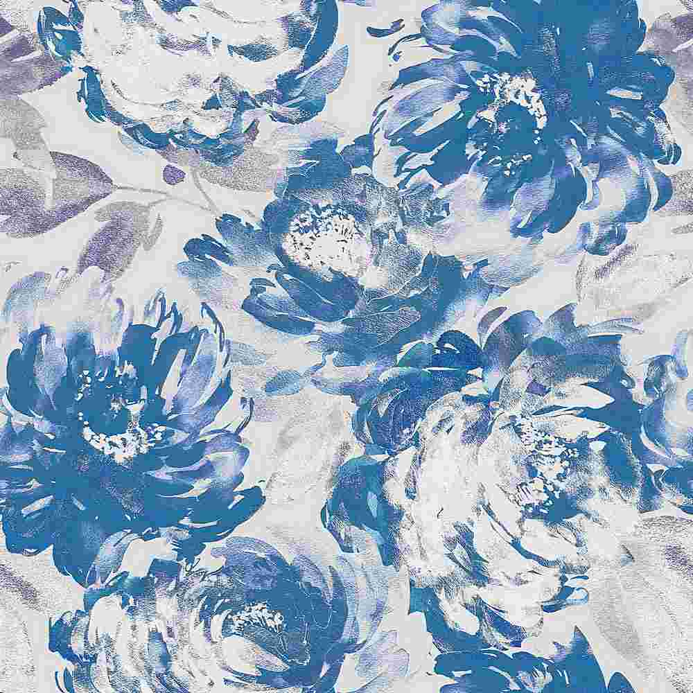 5345-TECHNO / TEAL/WHITE / WATER COLOR FLOWER TECHNO