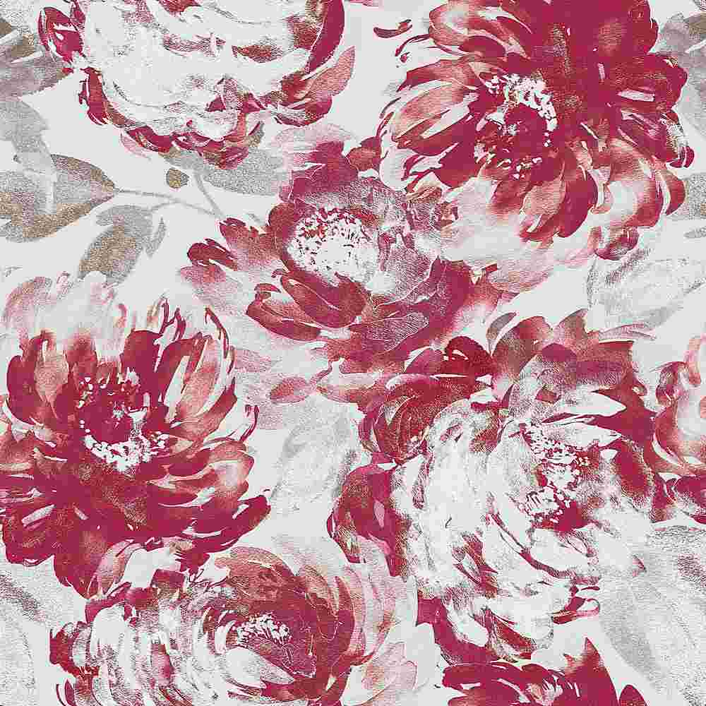 5345-TECHNO / RED/WHITE / WATER COLOR FLOWER TECHNO