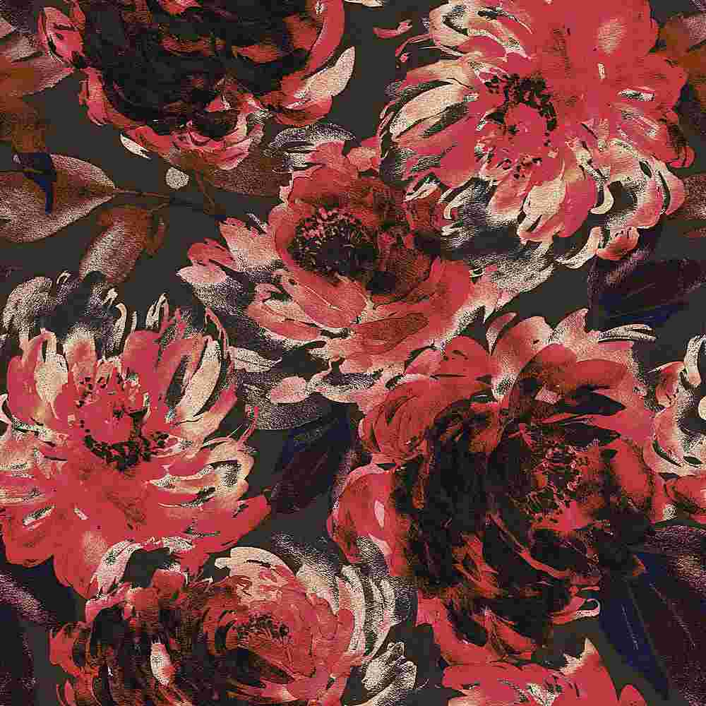 5345-TECHNO / BROWN/RED / WATER COLOR FLOWER TECHNO