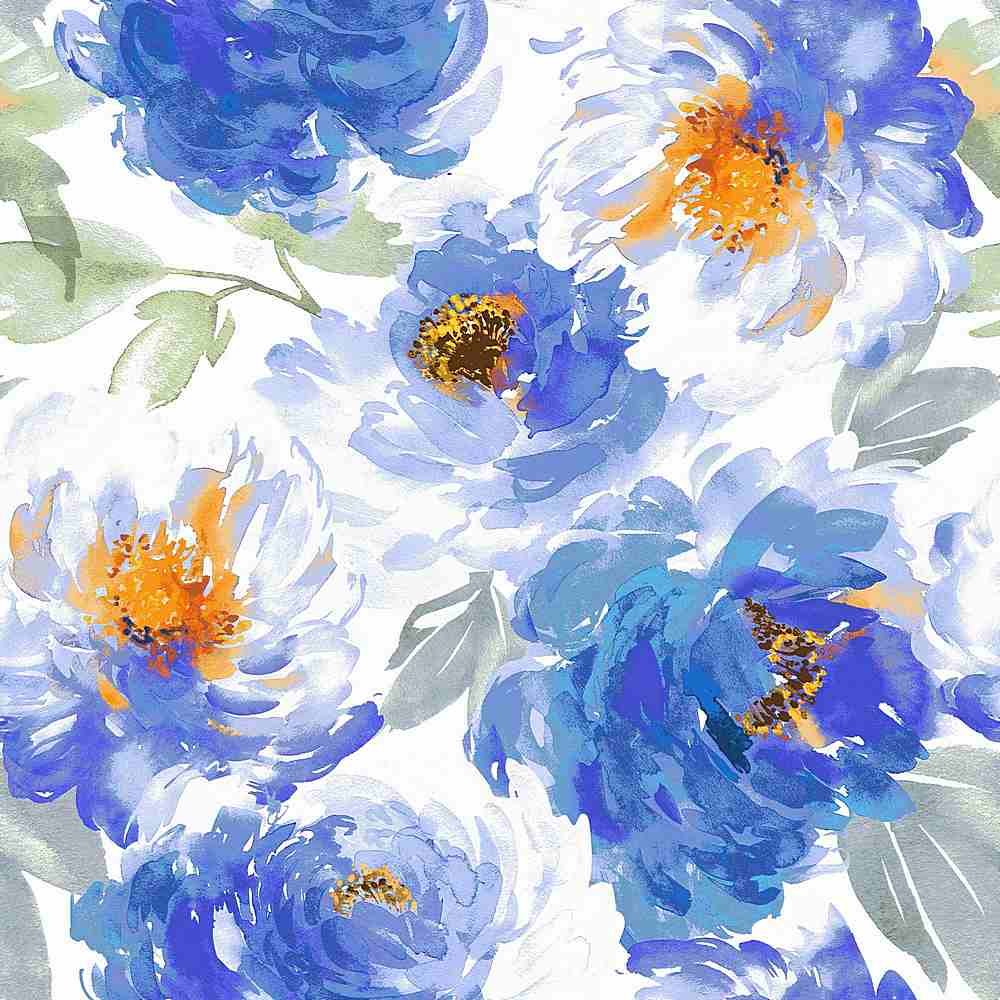 5345-TECHNO / BLUE/ORANGE / WATER COLOR FLOWER TECHNO