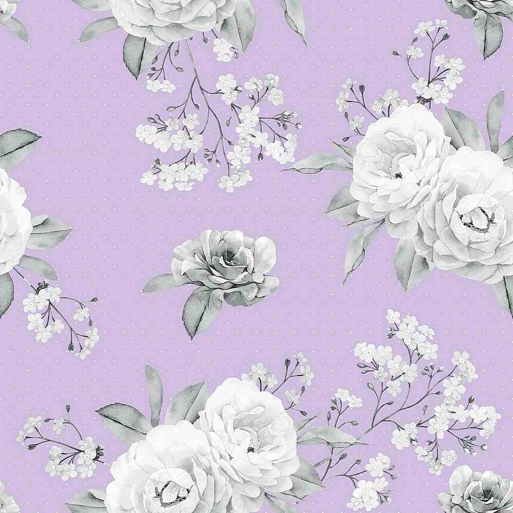 5377-7000 / LAVENDER/GREY / Scattered Flower Wool Dobby Print